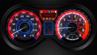car dashboard with dials